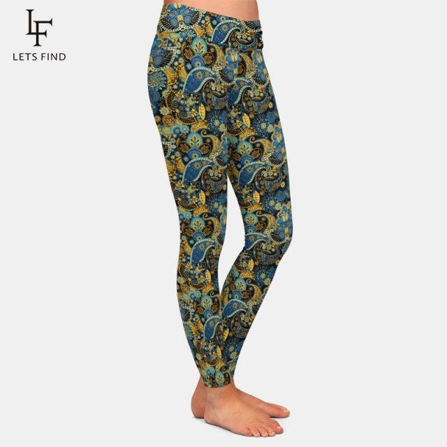 2019 New Women High Waist Leggings Fashion Plus Size High Elastic  Casual  Ankle-Length  Print Leggings