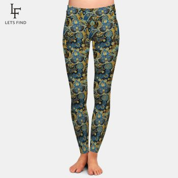 2019 New Women High Waist Leggings Fashion Plus Size High Elastic  Casual  Ankle-Length  Print Leggings