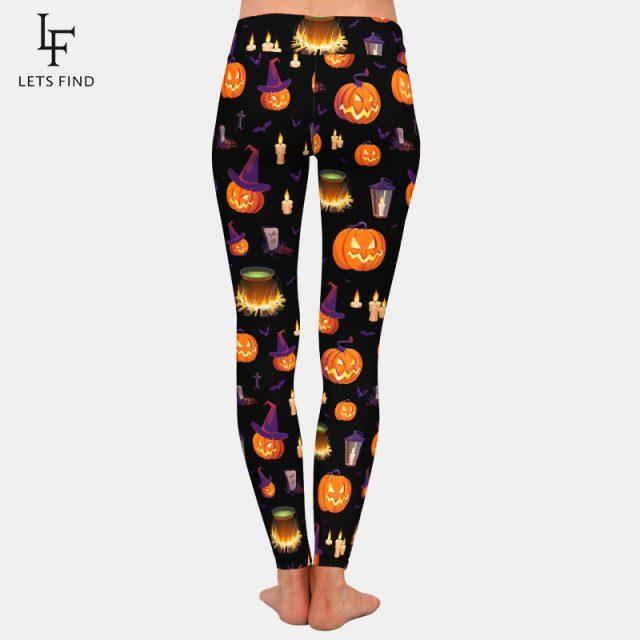 LETSFIND Fashion 3D Halloween Pumpkin Digital Print Leggings Women High Waist Plus Size Pants Fitness Stretch Leggings