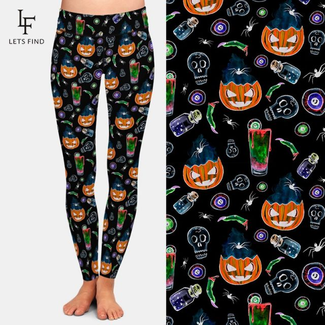 LETSFIND Halloween Women Pants 3D Pumpkin Ghost Print Women Leggings Sexy High Waist Plus Size Fitness Leggings