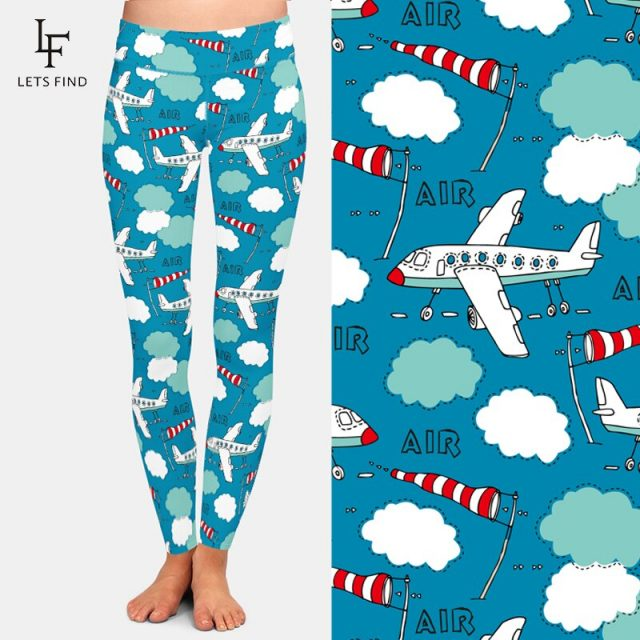 LETSFIND Women High Waist Workout Leggings Fashion  3D Plane Digital Printing Soft and Slim Sporting Fitness Leggings