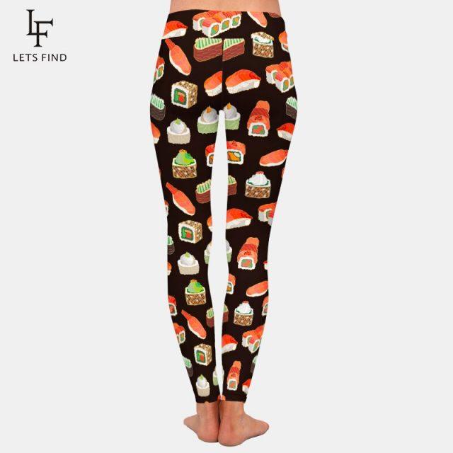 LETSFIND New Design 3D Sushi Print Women High Waist Leggings Plus Size Elastic Workout Fitness Slim Black Leggings