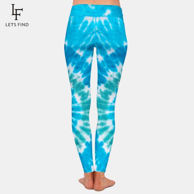 New Women Stretch Pants Blue Tie-dye Print High Waist High Quality Milk Silk Printed Casual Girl Leggings Plus Size