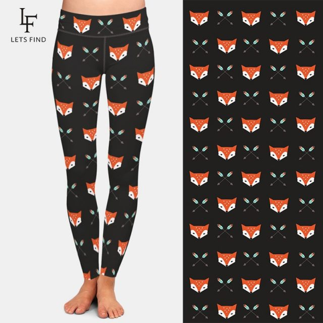 New Fashion Women Legging 3D Cartoon Fox Print Elastic Leggings High Waist Plus Size High Quality Black Leggings