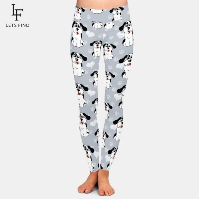 LETSFIND High Waist Women Elastic Pants 3D Cartoon Dogs and Dog Paw Milk Silk Printing Casual Leggings Plus Size