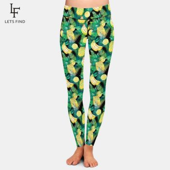 LETSFIND New Design 3D Fruits Print Banana Pineapple and Lemon Women Leggings High Waist Fashion Comfortable Plus Size Leggings