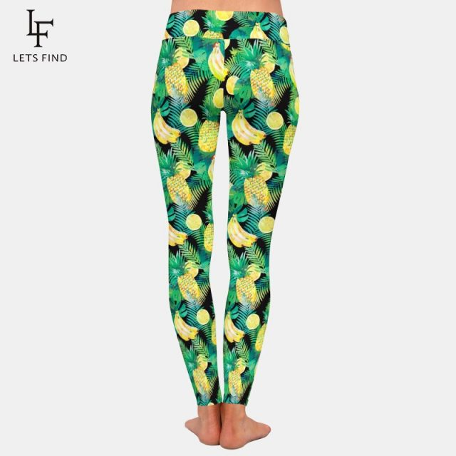 LETSFIND New Design 3D Fruits Print Banana Pineapple and Lemon Women Leggings High Waist Fashion Comfortable Plus Size Leggings