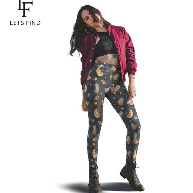 LETSFIND New Women Black Leggings Fashion 3D Cartoon Sloth Digital Printing High Waist Elastic Ankle-Length Leggings Plus Size