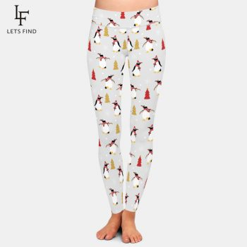 LETSFIND New Arrival Cute Penguin In Winter Digital Printing Women Leggings High Waist Plus Size Casual Ankle-Length Leggings