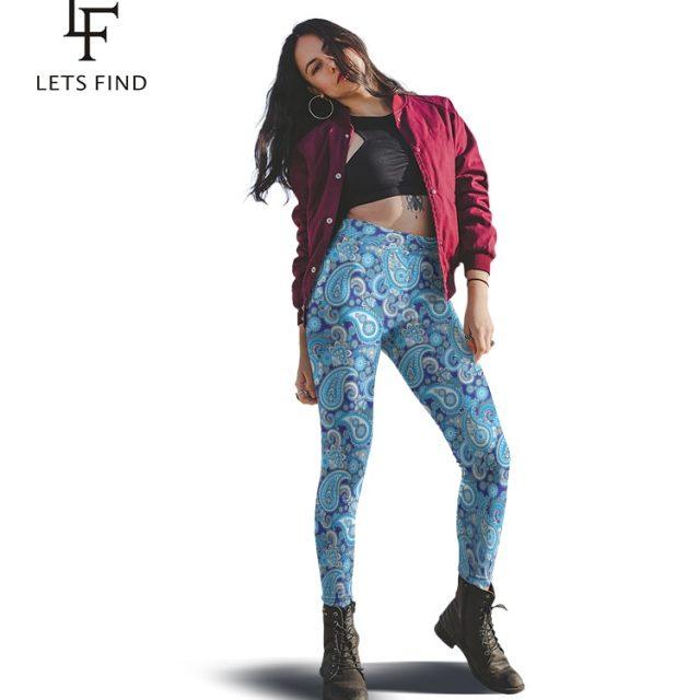 LETSFIND 2019 Fashion Plus Size Women Printed Leggings Cashew Flowers Print High Waist Blue Leggings Free Shipping