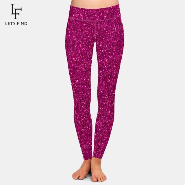 LETSFIND Fashion Beauty Flower Printing Leggings Women High Waist Plus Size Workout Ankle-Length Leggings