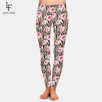 LETSFIND Fashion Beauty Flower Printing Leggings Women High Waist Plus Size Workout Ankle-Length Leggings