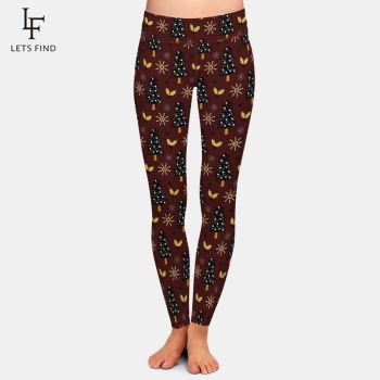 LETSFIND New Arrival Winter Warm Fashion Women High Waist Leggings 3D Christmas Tree Leggings Digital Print Pants Plus Size