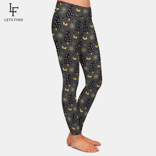 LETSFIND New Arrival Winter Warm Fashion Women High Waist Leggings 3D Christmas Tree Leggings Digital Print Pants Plus Size