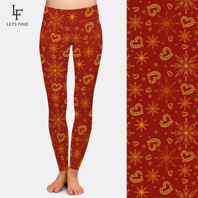 LETSFIND 3D New Year and Christmas Pattern Printing Casual Leggings Fashion New Women High Waist Workout Leggings