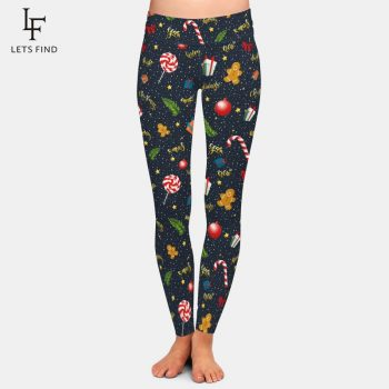 LETSFIND Nightmare Before Christmas Plus Size Women Leggings  High Waist Fitness Warm Leggings  Black Ankle-Length Women Pants