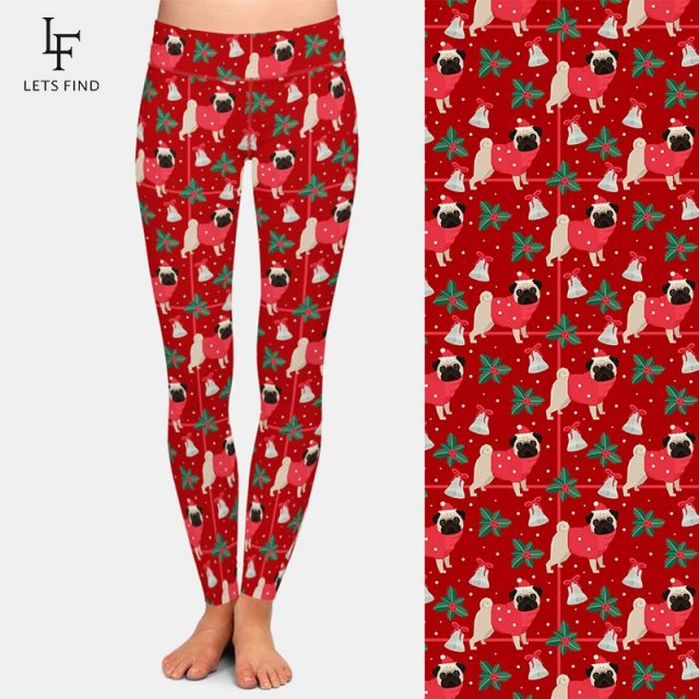 LETSFIND Winter New Women High Waist Plus Size Elastic Leggings 3D Christmas Pugs Printing Milk Silk Print Casual Leggings
