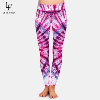 LETSFIND Brands New Women Tie-dye Print Leggings High Waist Elastic Milk Silk Printed Ankle-Length Casual Leggings Plus Size