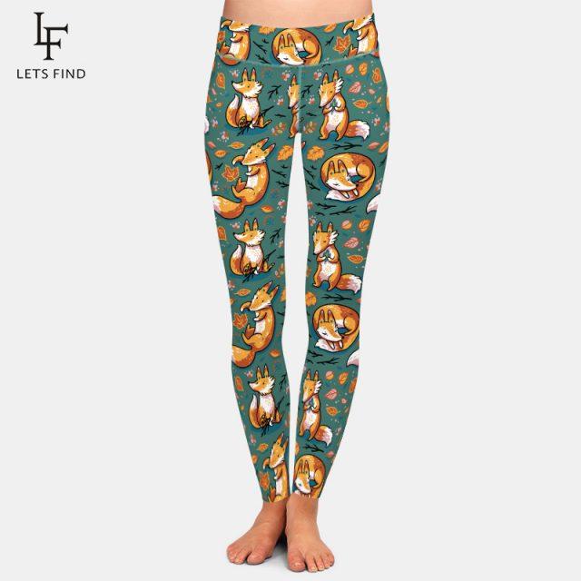 New 3D Digital Printing Fox Leggings High Waist Elastic Trousers Fashion Plus Size Leggings Casual Legging for Women
