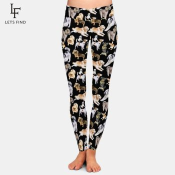 Fashion Cartoon Dogs Print High Elastic Women Black Leggings High Waist  220gsm Double Side Brushed Milk Silk Plus Size Leggings