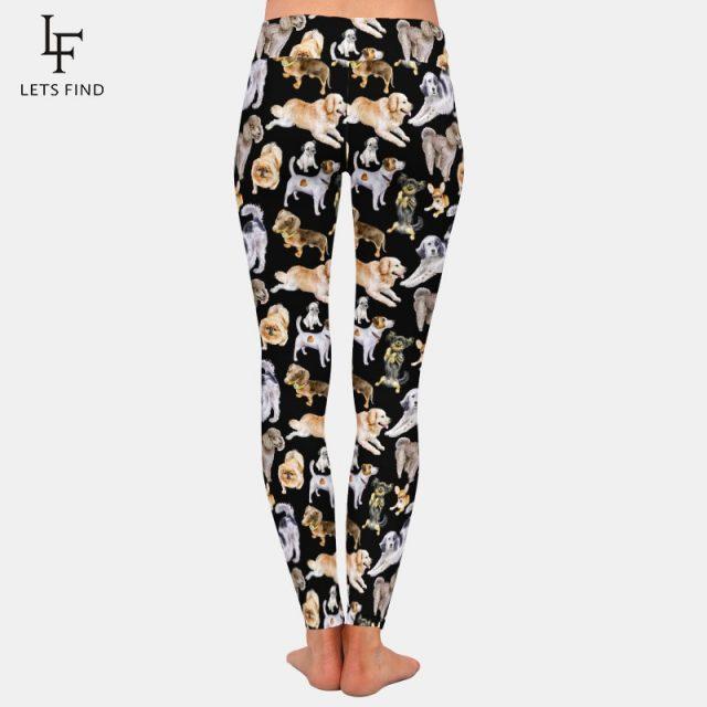 Fashion Cartoon Dogs Print High Elastic Women Black Leggings High Waist  220gsm Double Side Brushed Milk Silk Plus Size Leggings