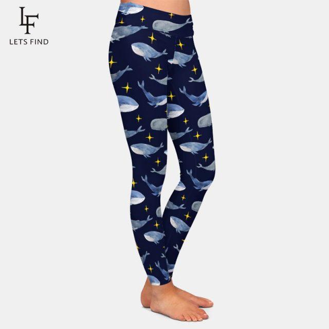 LETSFIND Fashion Women Leggings 3D Dolphins Digital Printing Fitness Legging High Waist Plus Size Woman Pants