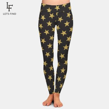 LETSFIND Fashion Seamless 3D Pentagram Print Women Black Leggings High Waist Elastic Milk Silk Casual Women Leggings Plus Size