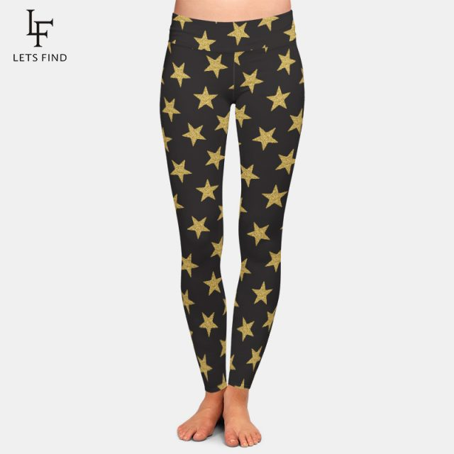 LETSFIND Fashion Seamless 3D Pentagram Print Women Black Leggings High Waist Elastic Milk Silk Casual Women Leggings Plus Size