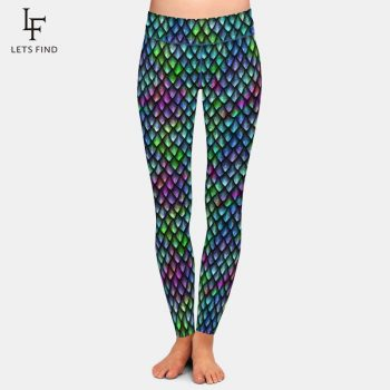 LETSFIND Seamless Fish Scales Print Pants Fashion Sexy High Waist High Quality Milk Silk Plus Size Women Print Leggings