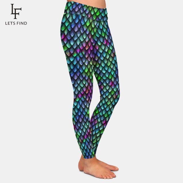 LETSFIND Seamless Fish Scales Print Pants Fashion Sexy High Waist High Quality Milk Silk Plus Size Women Print Leggings