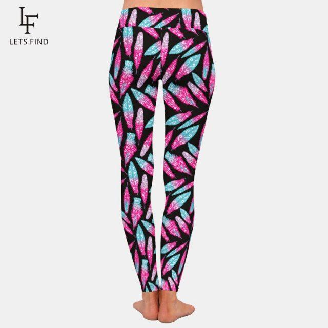 LETSFIND High Quality Women Leggings Feather Printing Fashion Casual High Waist Comfortable Woman Black Leggings