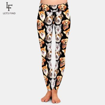 LETSFIND Hot Sale Leggings 3D Animals Dog Printing High Waist Women Plus Size Casual Black Leggings Free Shipping