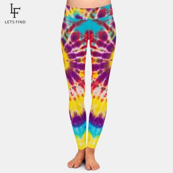 Fashion Women Stretch Pants Tie-dye Print High Waist 220gsm Double Side Brushed Milk Silk Casual Leggings Plus Size