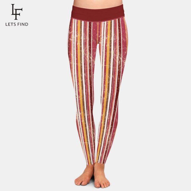 LETSFIND New Women High Waist Warm Leggings Fashion Casual Elastic Striped Printing Plus Size Girl Leggings