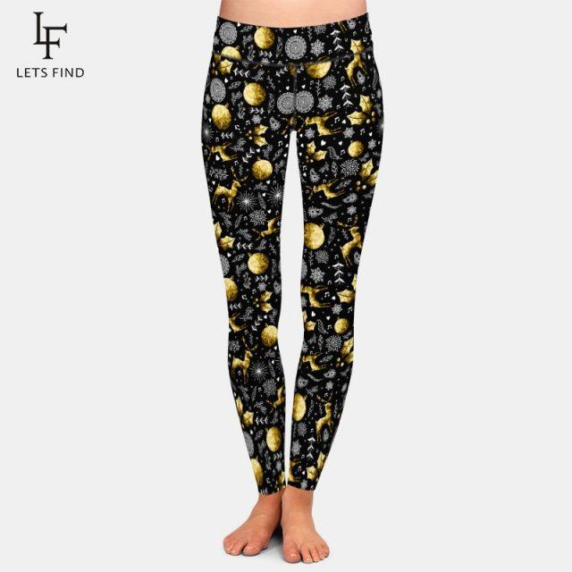 LETSFIND 2019 Winter High Quaility Plus Size Women Leggings Christmas Elements Print Milk Silk Print Fitness Black Pants