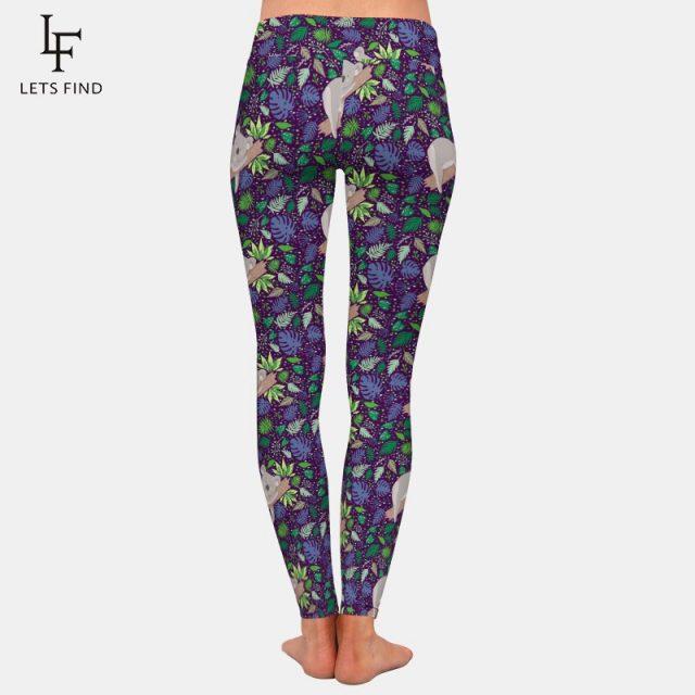 LETSFIND High Waist Leggings Fashion New Women 3D Cartoon Koala Print Workout Stretch Pants Plus Size Polyester Elastic Leggings