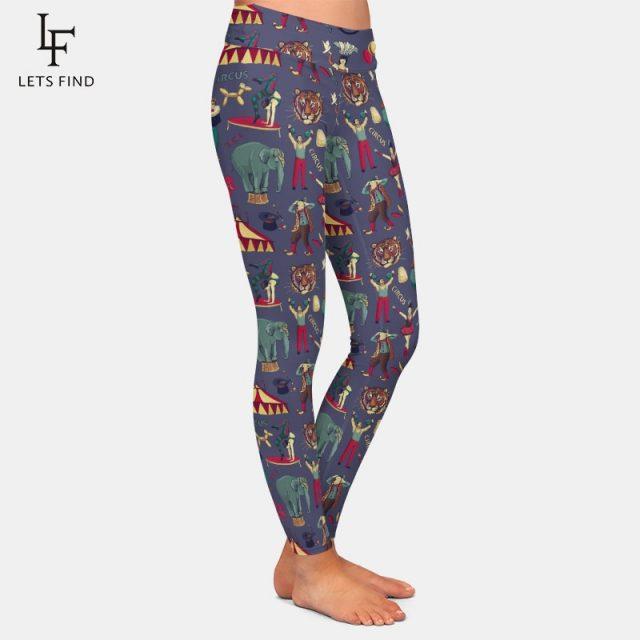 LETSFIND New Arrival 3d Circus Print Leggings Fashion Women Fitness High Waist Plus Size Warm Leggings Casual Elastic Pants