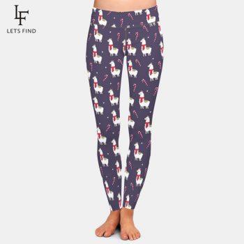 LETSFIND 2019 New Cute Christmas Alpaca Print High Waist Plus Size Women Leggings High Quaility Fitness Elastic Leggings