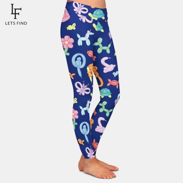 LETSFIND Brands New Arrivals  3D Balloon Printed Leggings Fashion Women High Waist High Elasticity Milk Silk Leggings