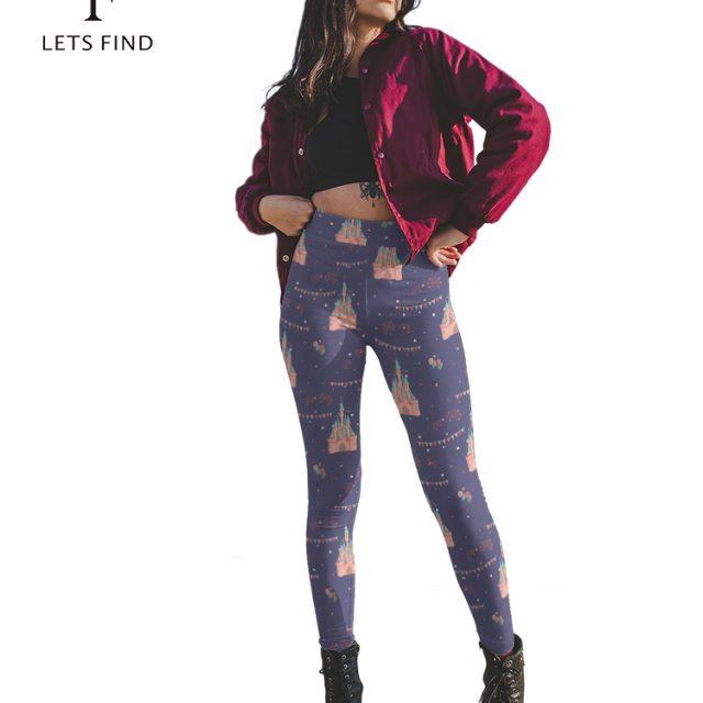 LETSFIND Brand 2019 New Arrival Women Leggings Castle Printed Legging for Woman High Waist Fitness Soft Leggings