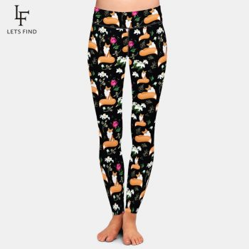 LETSFIND  Seamless Plus Size Women Black Leggings Fashion High Waist Fox and Flowers Printing Elasticity Leggings