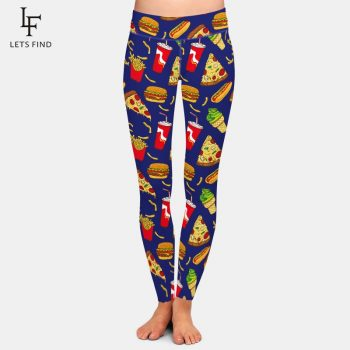 LETSFIND High Quaility Women Leggings 3D Hamburger and Pizza Pattern Digital Printing Pants New Fitness Plus Size Leggings