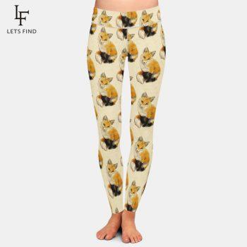 LETSFIND Brand Fashion New Hot Sale Women Fox Print Leggings High Waist Elastic Leggings Plus Size Women Pants