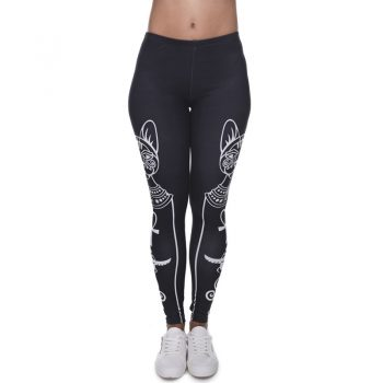2019 new women's fashion cat pattern spring season leggings nine pants high waist stretch fitness casual