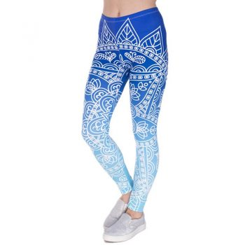 2019 new women's fashion winter leggings nine pants blue white stripes low waist stretch fitness casual  printed trousers