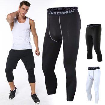 Men Leggings Elastic Breathable Slim Three Quarter Exercise Pants for Basketball IK88