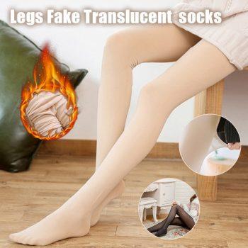 Legs Fake Translucent Fleece Lined Leggings Slim Stretchy Warm Leggings for Winter Outdoor  IK88