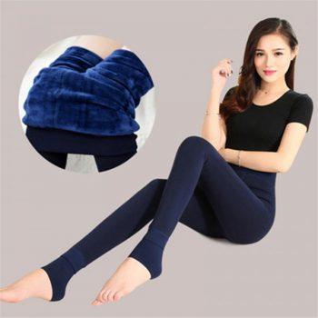 Women High Elastic Thick Leggings Autumn Winter Warm Velvet Pants IK88