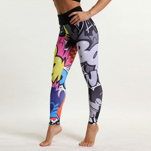 Sport Leggings Women Fitness Yoga Pants Cartoon Print Sport Pants Yoga Leggings Breathable Gym Jogging Running Tights Sport Wear