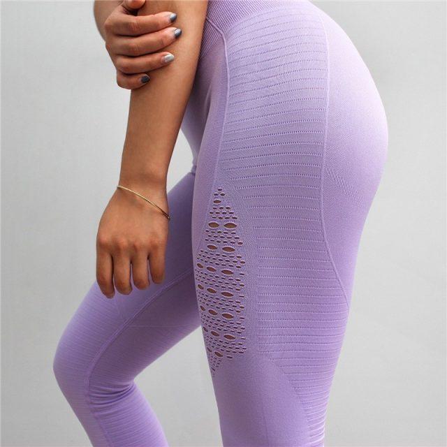 Solid Yoga Pants High Waist Elastic Yoga Sport Leggings Women Fitness Sport Running Pants Training Seamless Leggings Sports Wear